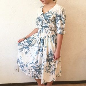 80s Button Up Toile Floral Fit Flare Dress